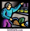 Man grocery shopping Vector Clipart picture