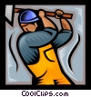 Vector Clipart illustration  of a trades person with a sledge