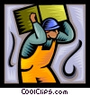 Vector Clip Art graphic  of a trades person carrying a box
