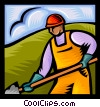 Vector Clip Art picture  of a trades person with a shovel