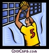 Vector Clip Art graphic  of a Volleyball player spiking the