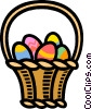 Easter basket with eggs Vector Clipart picture