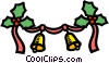 Vector Clipart illustration  of a Christmas ribbon and bells