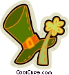 Vector Clipart image  of a St. Patrick's day hat and clover