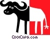 Vector Clipart illustration  of a water buffalo