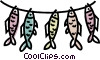 Vector Clip Art image  of a fish on a line