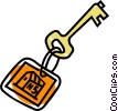 Vector Clipart image  of a house key