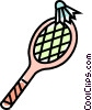 Vector Clip Art picture  of a Badminton racket and birdie