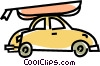 car with a boat Vector Clipart image