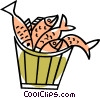 Vector Clip Art graphic  of a pail of fish