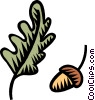 acorn with oak leaf Vector Clip Art graphic