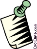 Vector Clipart picture  of a pushpin with paper