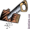 Vector Clip Art graphic  of a handsaws