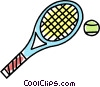 Vector Clipart graphic  of a tennis racket and ball