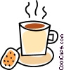 Vector Clip Art graphic  of a cup of coffee and a cookie