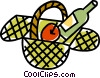 Vector Clip Art graphic  of a picnic basket