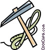 Vector Clip Art picture  of a climbing pick-axe and rope