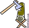 Vector Clipart illustration  of an axe chopping wood