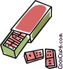 Vector Clip Art picture  of a box of dominos