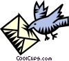 Vector Clip Art image  of a bird with an envelope/airmail