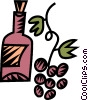 Vector Clip Art image  of a wine and grapes