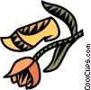 Vector Clip Art image  of a tulip with wooden clog