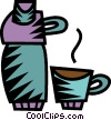 Vector Clipart illustration  of a thermos with coffee