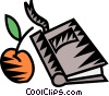 Vector Clip Art graphic  of an apple with school book