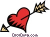 heart with an arrow through it Vector Clipart graphic