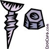 Vector Clip Art graphic  of a screw and nut