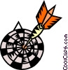 Vector Clip Art image  of a Dartboard with dart