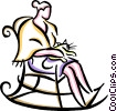 Woman sitting with cat in rocking chair Vector Clipart picture