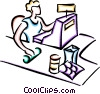 Vector Clip Art graphic  of a Woman operating the cash