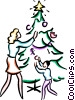 Vector Clip Art picture  of a Mother and son decorating tree