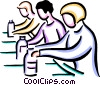 Workers on assembly line Vector Clipart image