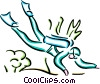 Vector Clip Art graphic  of a Scuba diver