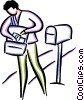 Vector Clip Art image  of a postal worker delivering the