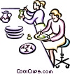 Vector Clipart graphic  of a Women painting pottery