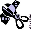 Vector Clip Art graphic  of a scissors cutting a ribbon
