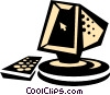computer with keyboard Vector Clipart illustration
