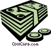dollar bills and coins Vector Clip Art image