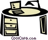 Vector Clip Art picture  of a office desk with laptop