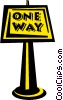 one way sign Vector Clip Art picture