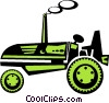 Vector Clipart graphic  of an antique tractor