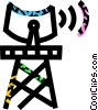 Vector Clip Art image  of a radio tower