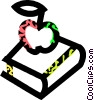 Vector Clipart image  of a book and apple
