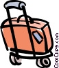 Vector Clip Art picture  of a luggage on carrier