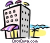 Vector Clipart illustration  of a hotel on the beach