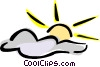 sun and clouds Vector Clipart illustration