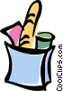 Vector Clipart illustration  of a bag of groceries